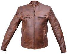 Mens NEW Brown Cafe Racer Leather Vented Motorcycle Biker Jacket Allstate 2077