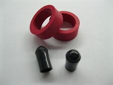 "2 RED Pinball Machine MINI FLIPPER RUBBER RINGS 1"" x 1/2"" w/ 2 FREE Black Tips"