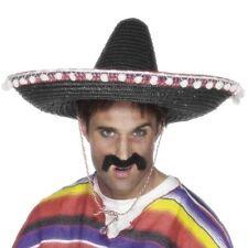 Herren original mexikanisch Deluxe Kostüm Sombrero mit hüpft schwarz von Smiffys