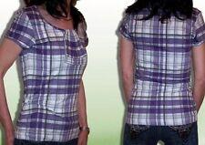 "Señora manga corta Camisa ""Flashlights"", morado/gris, elástico, talla 34 36 38 40 42 44"