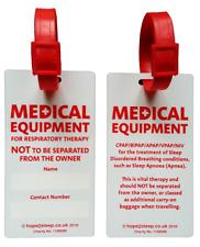 TRAVEL LUGGAGE TAG for CPAP BIPAP + Ventilator Users - Sleep Apnoea Apnea