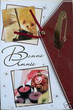 Carte postale de Meilleurs voeux bonne année 2 volets en relief + enveloppe