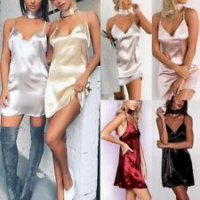 Women Ladies Party Satin Silk Slip Halter Sleeveless Backless Short Mini Dress