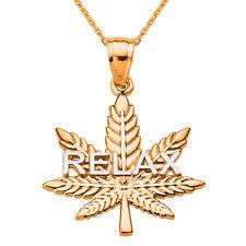 """RELAX"" Marijuana 10k Rose Gold Pot Weed Cannabis Leaf Script Pendant Necklace"