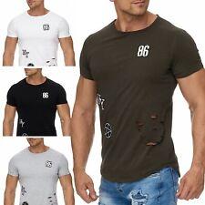 Hombre Camiseta laimpresión Superior Cuello redondo elástico jersey de algodón
