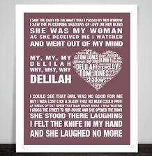Tom Jones, Dalila Music Song Lyric impresión arte cartel clásico por qué mi regalo