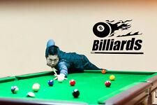 BILLIARDS POOL BALL SPORT GAME WALL VINYL STICKER MURAL ART DECAL FLAMES