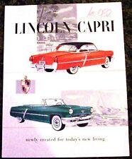 1952 Lincoln Capri Folder Brochure 52