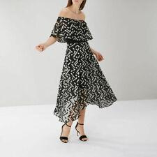New Coast Ada Bardot Black & Mink Midi Dress Sz UK 10