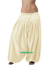 Cream Satin Harem Yoga Pant Belly Dance Pantaloons Bombachos Aladdin Halloween