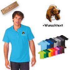 Polo camicia ricamata cotone ricamo cane Basset + Testo a scelta