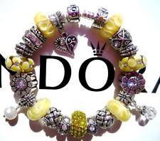 PANDORA Sterling Silver CHARM Bracelet LEMON CHIFFON with Murano Beads CC53
