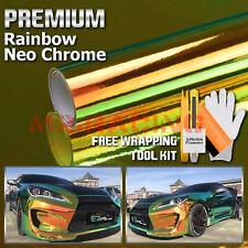 *Premium Orange Green Neo Chrome Rainbow Holographic Vinyl Wrap Sticker Decal