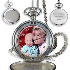 PERSONALISED CUSTOM QUARTZ POCKET WATCH YOUR FAMILY PHOTO ENGRAVING GIFT