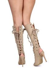 New Women Wild Diva Berlin-29 Distressed Peep Toe Knee High Gladiator Boot Size