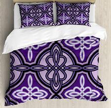 Purple Duvet Cover Set with Pillow Shams Ethnic Celtic Knot Art Print