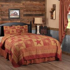 VHC Primitive Quilt Set Ninepatch Star Bedding Red Cotton Star Patchwork