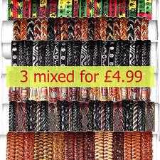Set di 3 Regolabile in Pelle Nuovo Moda BRACCIALETTI colorati intrecciati Mix Design