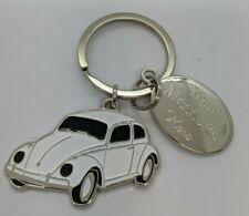 VOLKSWAGEN BEETLE KEY RING ENGRAVED WHITE VW BEETLE GIFT METAL KEY CHAIN