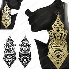 "7""long GIANT CHANDELIER EARRINGS huge filigree acrylic GOLD/BLACK 18cm big LARGE"