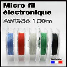 awg36/100# micro fil de câblage noir awg36 Ø 0,3mm bobine 100m modélisme ...