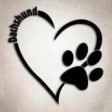 Dachshund Dog Love Decal Paw Heart Sticker Car Laptop Wiener Puppy Animal Rescue