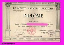 DIPLOME OFFICIER MERITE NATIONAL FRANCAIS