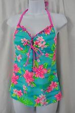 SO AB411T533 Aqua Pink Hawaiian Flower Scallop Edge Tankini Swimwear MSRP $32