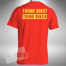 Think Bike! Think Biker Mens T-Shirt Motorbike Safety Hazard Awareness