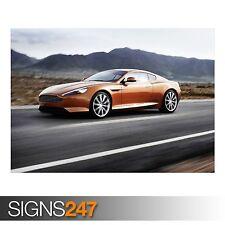 Aston MARTIN Marrone Dorato (AB160) Auto Poster-Poster Arte Stampa A0 A1 A2 A3