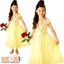 Deluxe Live Action Belle Girls Fancy Dress Disney Princess Beauty Childs Costume