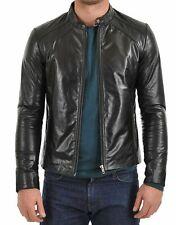 Men's Leather Jacket Biker Motorcycle Coat Black Slim Fit Outwear Jackets - 6