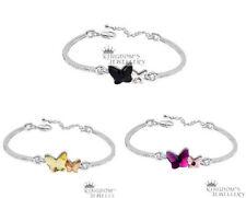 18K White GP Butterfly Bracelet Jewellery made with Swarovski crystals