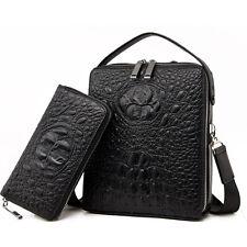 Crocodile Alligator Embossed Men Leather Briefcase Shoulder Messenger Bag Laptop