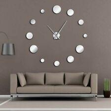 Round Mirror Large Wall Clock Frameless Simple Modern Design Watch Home Decor