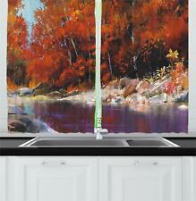 "Lively Fabric Kitchen Curtains 2 Panel Set Window Drapes 55"" X 39"""