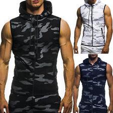 Men Camouflage Zipper Vest Slim Fit T-shirt Sleeveless Hoodie Tank  Fashion Tops