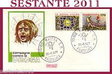 ITALIA FDC ROMA 1977 CAMPAGNA CONTRO LA DROGA CHE UCCIDE,  ANNULLO MATERA  F165