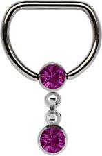 Piercing Joya Titanio anillo D con Trabilla en 9-13mm Cadena y 2 Bolas de piedra