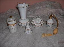 Vintage 6 Pc Set Haviland China Vieux Sevres Vanity Set Perfume Bottle France