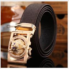 Luxury cuero cinturón señores cuero genuino automático Wolf-hebilla elegante Belt