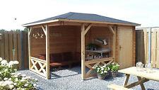 Pavillon Modell P 4355, 415x278cm, Holzstärke 28mm, Gartenlaube incl. Anbau