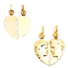 14K Real  Yellow Gold Broken Heart Pendant Collection For Men Women