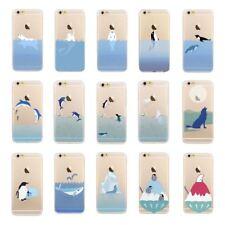 Océano Mar Animales Acuáticos delfines pingüinos Gel caso cubierta para iPhone 8 7 6s 6