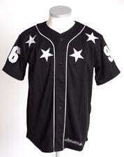 SCARCEWEAR MEN'S BLACK WHITE STARS 96 BASEBALL JERSEY BUTTON TOP SIZE S TO XXL