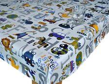 PVC PLASTIC VINYL TABLE CLOTH CHILDRENS ALPHABET ANIMAL PRINT GREY WHITE NURSERY