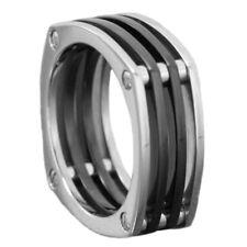 8mm Black Silver-Tone LAMBORGHINI Inspired Titanium Ring Wedding Band size 8-13
