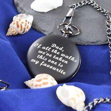 Personalised Engraved Black Roman Pocket Watch Weddings, Birthdays ideal gift