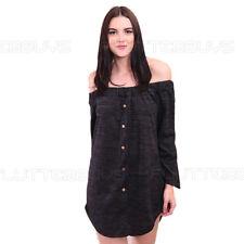 Charcoal Off Shoulder Shirt Dress Bardot Top Plain Stretch Womens Ladies Size UK