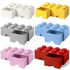 brique lego Boite de rangement 8 avec 2 Tiroirs Empilable enfants - 6 couleurs